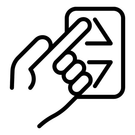 Finger calls the elevator icon, outline style Иллюстрация