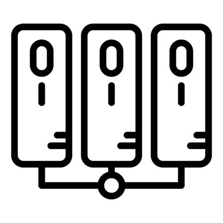 Servers connected together icon, outline style Illustration