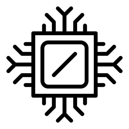 Computer processor icon, outline style Illustration