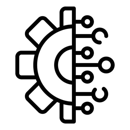 Web technology gear icon, outline style