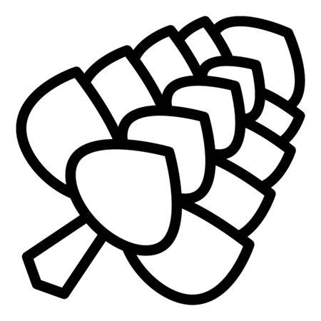 European fir cone icon. Outline european fir cone vector icon for web design isolated on white background Ilustração