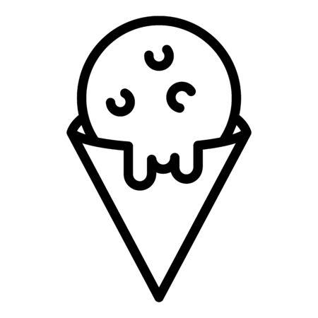 Ice cream cone icon, outline style Illusztráció