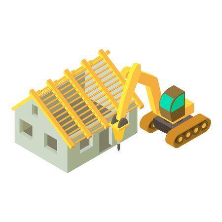 Construction site icon. Isometric illustration of construction site vector icon for web