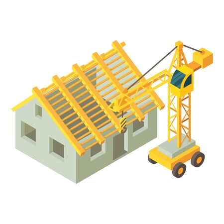 House building icon. Isometric illustration of house building vector icon for web