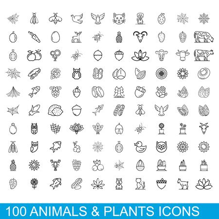 100 animals and plants icons set. Outline illustration of 100 animals and plants icons vector set isolated on white background Illusztráció