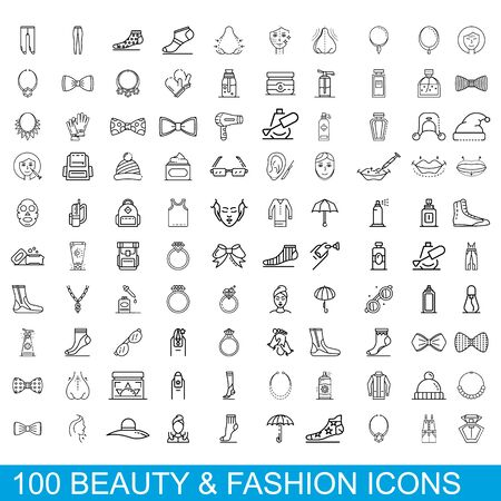 100 beauty and fashion icons set. Outline illustration of 100 beauty and fashion icons vector set isolated on white background
