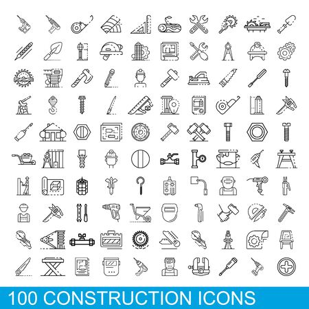 100 construction icons set. Outline illustration of 100 construction icons vector set isolated on white background