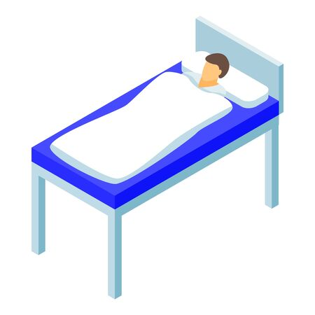 Man hospital bed icon. Isometric of man hospital bed vector icon for web design isolated on white background Banque d'images - 133572226