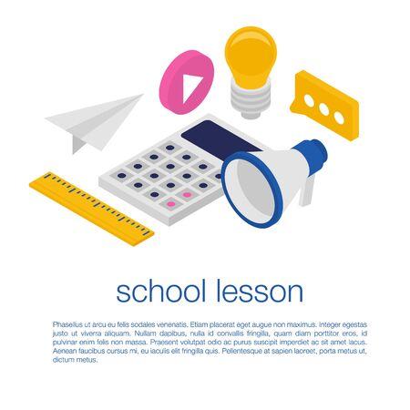 School lesson concept banner. Isometric illustration of school lesson vector concept banner for web design