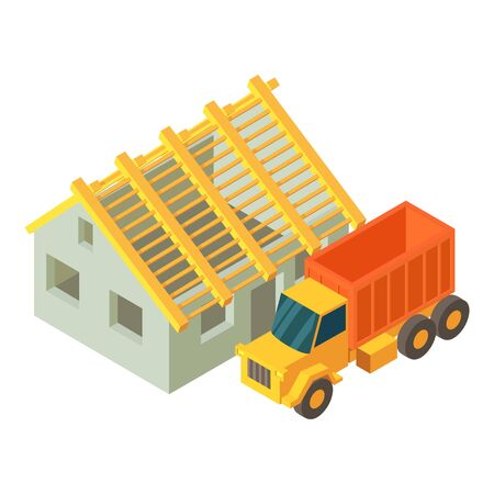 Trucking icon. Isometric illustration of trucking vector icon for web