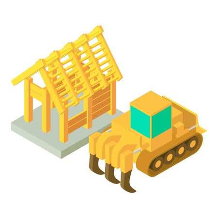 Quarry work icon. Isometric illustration of quarry work vector icon for web 向量圖像