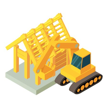 Mining icon. Isometric illustration of mining vector icon for web