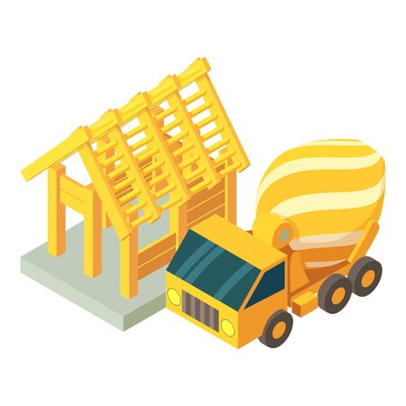 Concreting works icon. Isometric illustration of concreting works vector icon for web