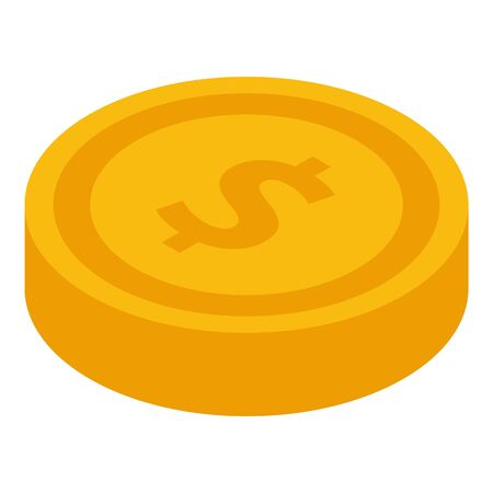 Gold coin icon, isometric style