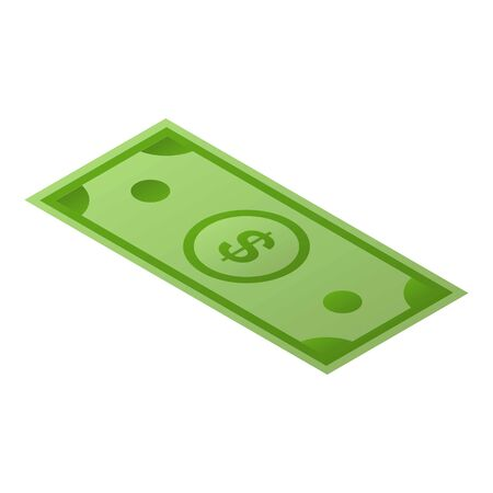 Green dollar paper icon. Isometric of green dollar paper vector icon for web design isolated on white background Illustration