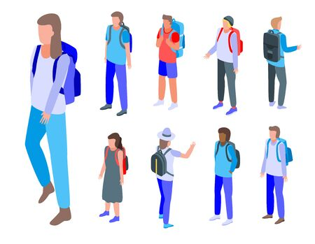 Backpack icons set. Isometric set of backpack vector icons for web design isolated on white background