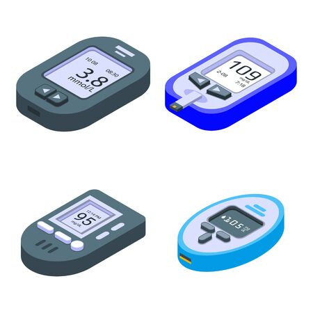 Glucose meter icons set. Isometric set of glucose meter vector icons for web design isolated on white background