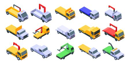 Tow truck icons set. Isometric set of tow truck vector icons for web design isolated on white background Ilustração