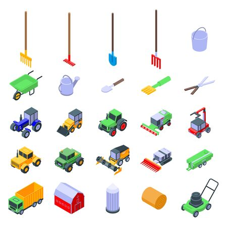 Zestaw ikon sprzętu rolniczego. Izometryczny zestaw ikon wektorowych sprzętu rolniczego do projektowania stron internetowych na białym tle