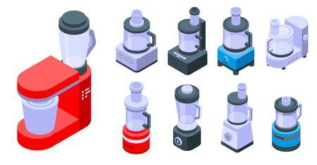 Conjunto de iconos de procesador de alimentos, estilo isométrico