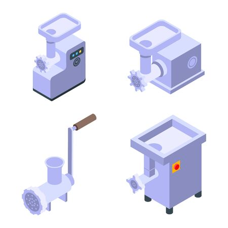 Meat grinder icons set, isometric style