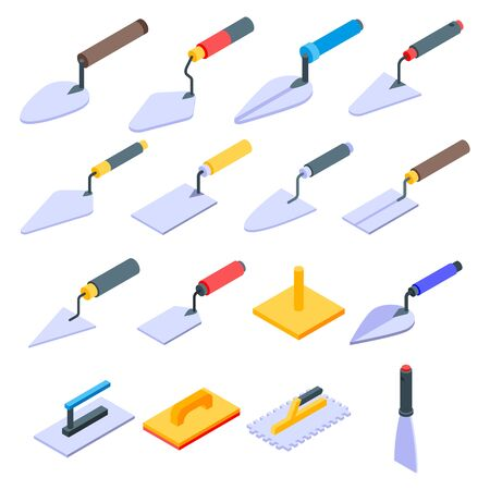 Trowel icons set, isometric style Illustration