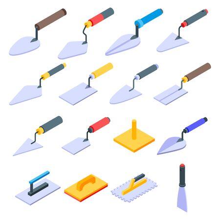 Trowel icons set, isometric style Vectores