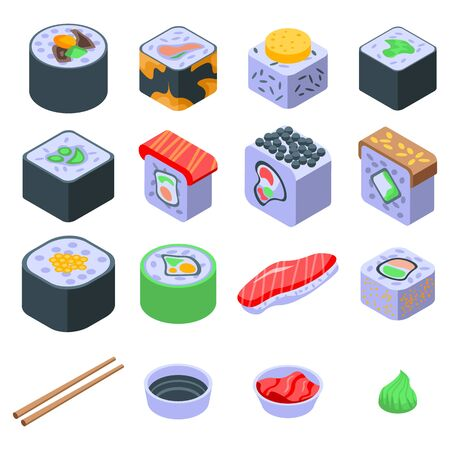 Sushi roll icons set, isometric style