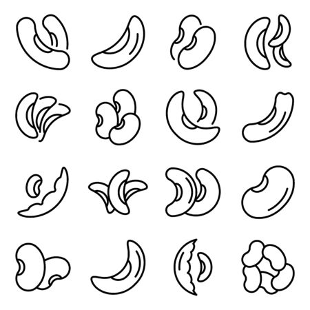 Kidney bean icons set, outline style