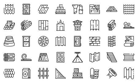 Construction materials icons set, outline style Vecteurs