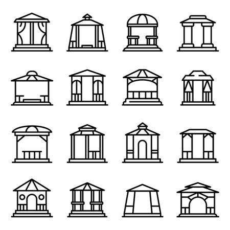 Gazebo icons set, outline style Illusztráció