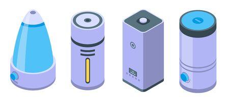 Humidifier icons set, isometric style Stock Illustratie