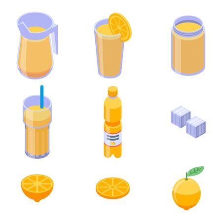 Lemonade icons set, isometric style