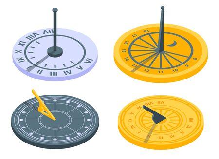 Ensemble d'icônes de cadran solaire, style isométrique Vecteurs
