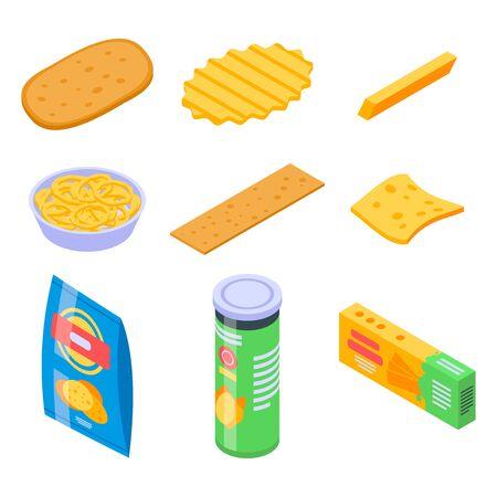 Chips potato icons set, isometric style
