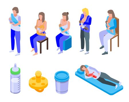 Breastfeeding icons set, isometric style