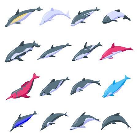 Dolphin icons set, isometric style Archivio Fotografico - 134489622