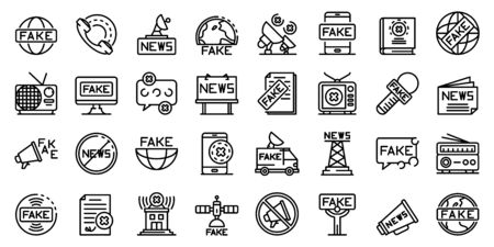Fake news icons set, outline style