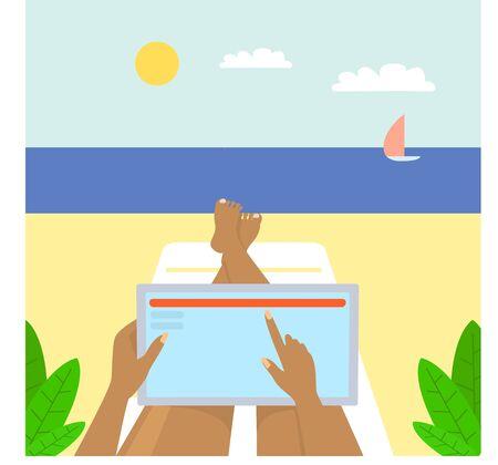Freelancer beach worker concept banner, flat style