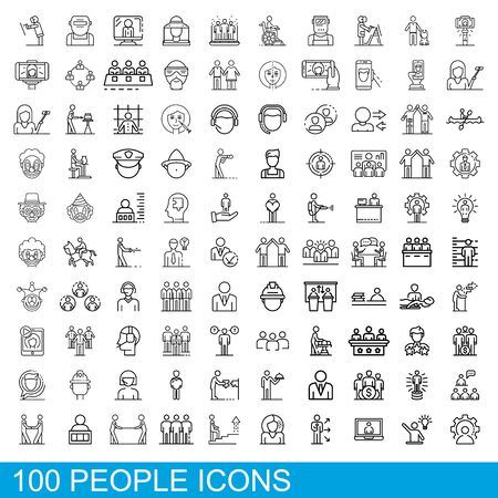 100 people icons set, outline style Vector Illustration