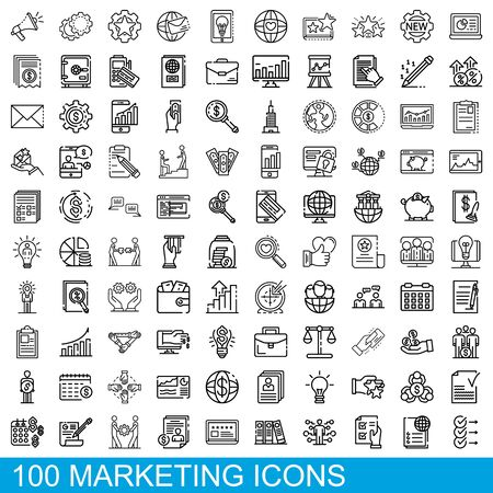 100 marketing icons set, outline style