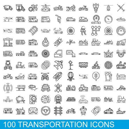 100 transportation icons set, outline style