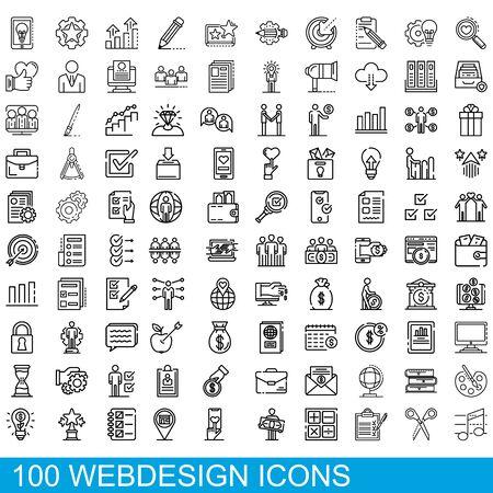 100 webdesign icons set, outline style