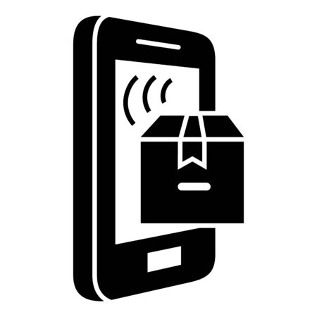 Smartphone parcel tracking icon, simple style