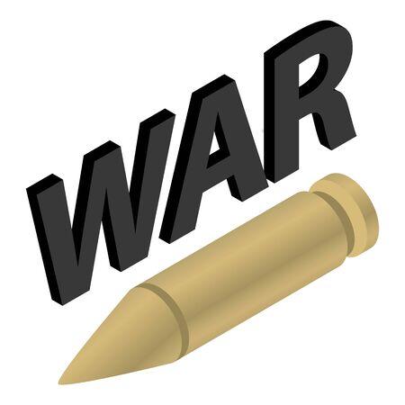 War symbol icon, isometric style
