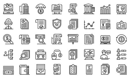 Audit icons set. Outline set of audit vector icons for web design isolated on white background