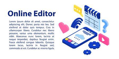 Bannière de concept d'éditeur en ligne. Illustration isométrique de la bannière de concept de vecteur d'éditeur en ligne pour la conception de sites Web Vecteurs