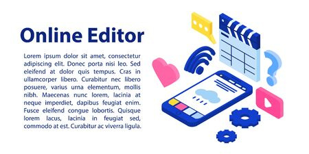 Online editor concept banner. Isometric illustration of online editor vector concept banner for web design Illustration