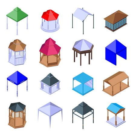 Gazebo icons set, isometric style
