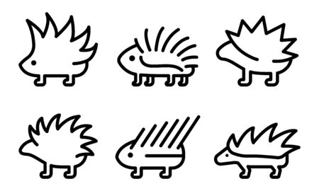 Porcupine icons set. Outline set of porcupine vector icons for web design isolated on white background 向量圖像